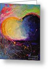 Unrestricted Heart Sunset Colors Greeting Card by Johane Amirault