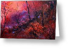 Unset In The Wood Greeting Card by Pol Ledent