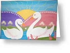 Upon Swan Lake Greeting Card by Samantha Shirley