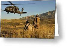 U.s. Air Force Pararescuemen Signal Greeting Card by Stocktrek Images