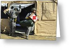 U.s. Air Force Soldier Exits A Medical Greeting Card by Stocktrek Images