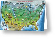 Usa Cartoon Map Greeting Card by Kevin Middleton
