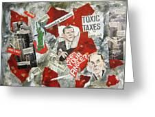 Usa Financial Meltdown Greeting Card by David Raderstorf