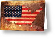 USA Star and Stripes Map Greeting Card by Michael Tompsett