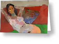 Valentina Model Nude In Relax Greeting Card by Carlos Camus