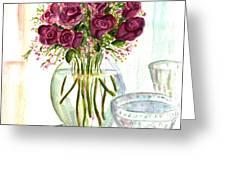 Valentines Crystal Rose Greeting Card by Clara Sue Beym