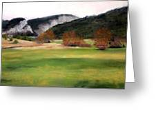 Valley Landscape Early Fall Greeting Card by Cindy Plutnicki