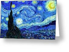 Van Gogh Starry Night Greeting Card by Vincent Van Gogh