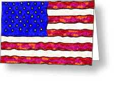 Van Gogh.s Starry American Flag . Square Greeting Card by Wingsdomain Art and Photography