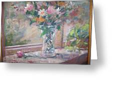 Vase And Flowers In Window Sill. Greeting Card by Bart DeCeglie