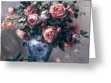 Vase Of Roses Greeting Card by Pierre Auguste Renoir