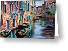 Venezia In Rosa Greeting Card by Guido Borelli