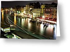 Venice Canal At Night Greeting Card by Patrick English