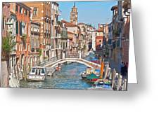 Venice Canaletto Bridging Greeting Card by Heiko Koehrer-Wagner
