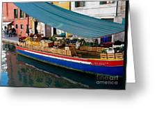 Venice Fresh Market Boat Greeting Card by Italian Art
