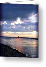 Venice Jetty At Dusk Greeting Card by Sheryl Unwin