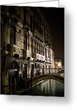 Venice Night Scene Greeting Card by Neil Buchan-Grant
