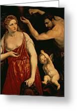 Venus And Mars Greeting Card by Paris Bordone