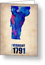 Vermont Watercolor Map Greeting Card by Naxart Studio