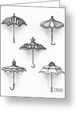 Victorian Parasols Greeting Card by Adam Zebediah Joseph