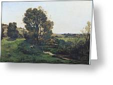 View From Moncel-sur-seine Greeting Card by Henri-Joseph Harpignies