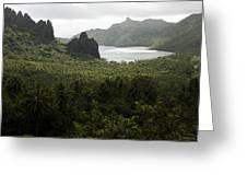 View Of Hatiheu Bay, Nuku Hiva Greeting Card by Tim Laman