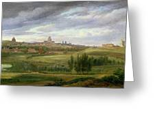 View Of Paris From Butte Aux Cailles Greeting Card by Jean Baptiste Gabriel Langlace