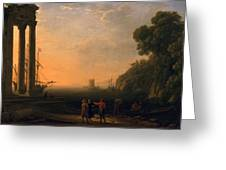 View Of Seaport Greeting Card by Claude Lorrain