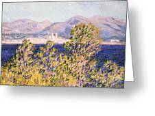 View Of The Cap Dantibes With The Mistral Blowing Greeting Card by Claude Monet