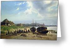 View Of The Dutch Coast Greeting Card by Johan Gerard Smits