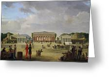 View Of The Grand Theatre Constructed In The Place De La Concorde For The Fete De La Paix Greeting Card by Jean Baptiste Louis Cazin