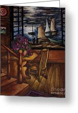 View Of The Moon And The Sea Greeting Card by Evelyn Sichrovsky