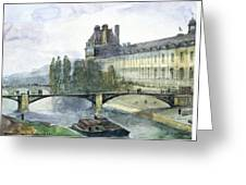 View Of The Pavillon De Flore Of The Louvre Greeting Card by Francois-Marius Granet