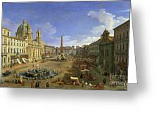 View Of The Piazza Navona Greeting Card by Canaletto