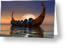 Viking Boat Greeting Card by Corey Ford