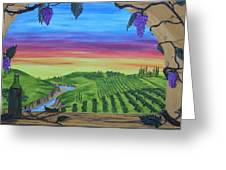 Vineyard Sunset Greeting Card by Carol Frances Arthur