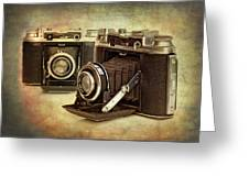 Vintage Cameras Greeting Card by Meirion Matthias