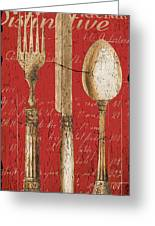 Vintage Dining Utensils In Red Greeting Card by Grace Pullen