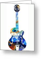 Vintage Guitar - Colorful Abstract Musical Instrument Greeting Card by Sharon Cummings