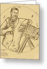 Vintage Photographer Video Camera Greeting Card by Aloysius Patrimonio