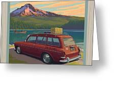 Vintage Squareback at Trillium Lake Greeting Card by Mitch Frey