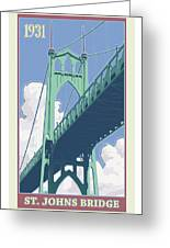 Vintage St. Johns Bridge Travel Poster Greeting Card by Mitch Frey