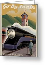 Vintage Union Station Train Poster Greeting Card by Mitch Frey