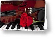 Violin and rose on piano Greeting Card by Garry Gay