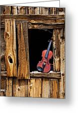 Violin In Window Greeting Card by Garry Gay