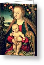 Virgin And Child Under An Apple Tree Greeting Card by Lucas Cranach the Elder