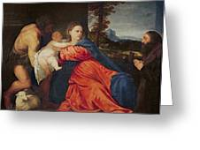 Virgin and Infant with Saint John the Baptist and Donor Greeting Card by Titian