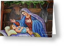 Virgin Mary And Baby Jesus Greeting Card by Gaspar Avila
