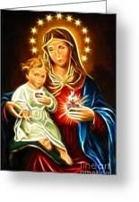 Virgin Mary And Baby Jesus Sacred Heart Greeting Card by Pamela Johnson