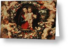 Virgin With A Garland Of Flowers Greeting Card by Peter Paul Rubens